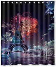 Rideau de Douche Imperméable 180X180cm Tour Eiffel