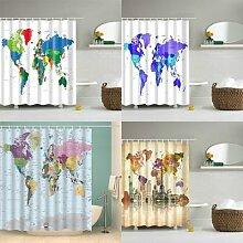 Rideau de douche imprimé carte du monde, rideau