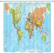 Rideau de douche motif carte du monde pour salle