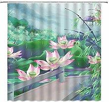 Rideau de douche motif lotus floral rose et