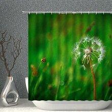 Rideau de douche motif plante verte, feuille de