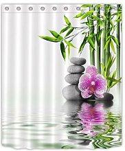 Rideau de douche Spa Zen bouddha, en tissu