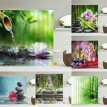 Rideau de douche Zen 3D en bambou vert,