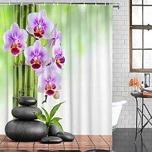 Rideau de douche Zen en bambou, orchidée,