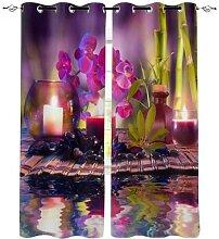 Rideau de fenêtre en pierre de bambou orchidée