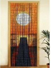 Rideau de porte - bambou - coucher de soleil