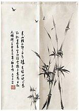 Rideau de porte en bambou à encre chinoise, Feng