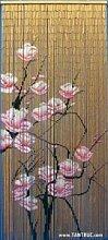 Rideau de porte en bambou avec motif floral, 90x
