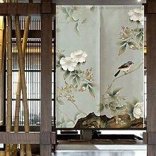Rideau de porte en fleurs et oiseaux chinois,