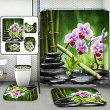 Rideau de salle de bain en pierre de bambou vert