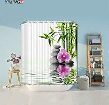 Rideau de salle de bain Zen en bambou, 200x180cm,