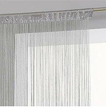 Rideau fil prêt à poser 90 x 200 cm coloris GRIS