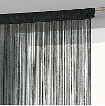 Rideau fil prêt à poser 90 x 200 cm coloris NOIR