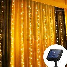 Rideau lumineux à énergie solaire 300 °,