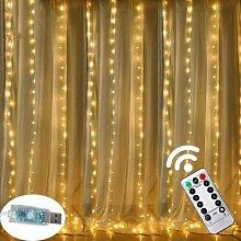 Rideau lumineux LED avec télécommande, 3m,