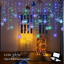 Rideau lumineux LED flocon de neige, guirlande