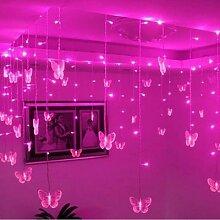 Rideau lumineux LED multicolore avec 16 papillons,