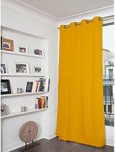 Rideau phonique thermique occultant jaune 140x260