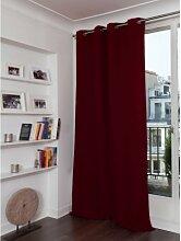 Rideau phonique thermique occultant rouge 140x350