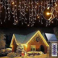 Rideau solaire lumineux 256 LEDs, 5 m, guirlande