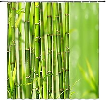 Rideaux de Douche en Bambou Vert Printemps Plante