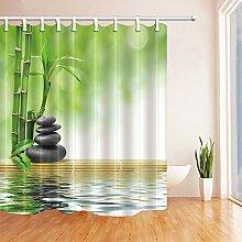 Rideaux Douche Spa Zen Stock avec Bambou dans