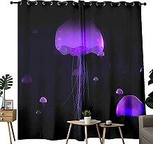 Rideaux occultants à motif méduses violettes -