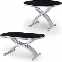 RIMA - Table basse relevable extensible ronde noir
