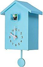 RIQWOUQT Horloge Murale Bleu Coucou Coucou Horloge