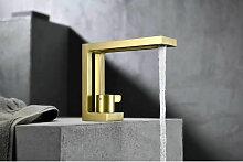 Robinet mitigeur lavabo design - Doré brossé
