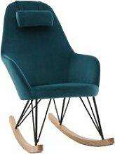 Rocking chair scandinave en velours bleu pétrole