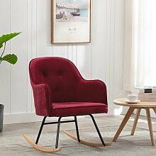 Rogal chaise à bascule rouge bordeaux velours