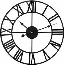 Roman Numeral Horloge murale de fer noir de bureau