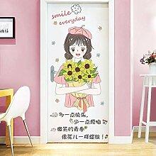Rose fille coeur décoratif autocollant mural