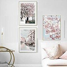 Rose Sakura Rose fontaine mur Art toile peinture