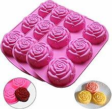 Rose Silicone Mould pour Savon, 3PCS 6