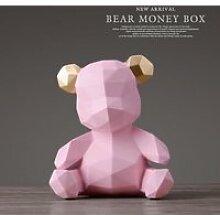Rose Tirelire avec Figurines d'ours en