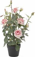 Rosier artificiel avec 4 fleurs et 6 boutons pot