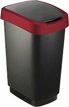 Rotho 2044020 Twist Poubelle Noir/Rubis Rouge 50 L