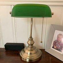 Rotin abat-jour couleur verte verre banquier lampe