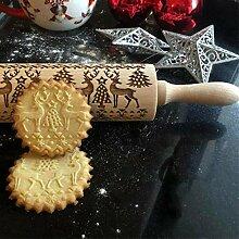 Rouleau à pâtisserie 3D en bois gaufré pour