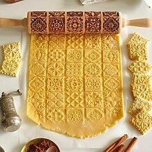 Rouleau à pâtisserie en bois de noël, rouleau