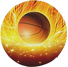 Round Chair Cushions Basketball Ball in Fire and