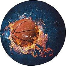 Round Chair Seat Cushion Basketball Ball in Fire