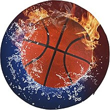 Round Cushion for Chair Basketball Ball in Fire