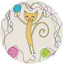 Round Kitchen Chair Pads Cute Cat Knitting Yarn