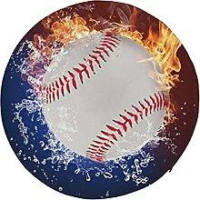 Round Round Chair Cushion Baseball Ball in Fire
