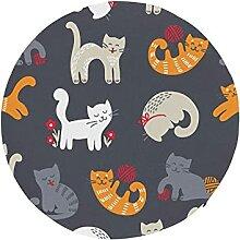 Round Seat Cushion Cute Cat Knitting Yarn Ball