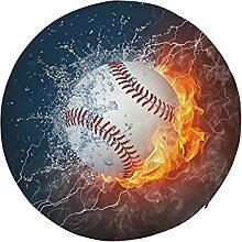 Round Stool Cushion Round Baseball Ball Fire Water