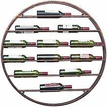 Round Wall Hanging Wrought Iron Wine Rack Bar Wall